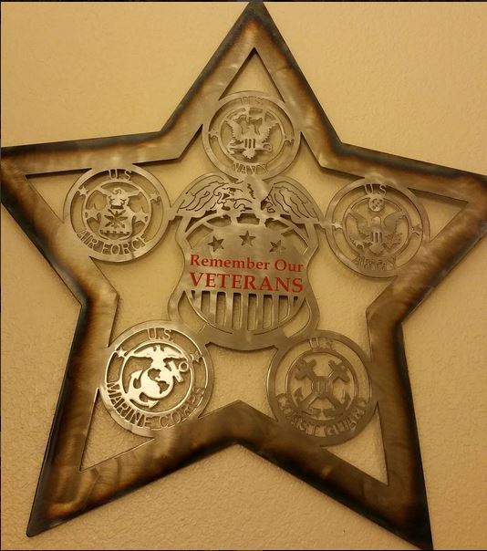 Man Cave Metal Works Remember Our Veterans Star